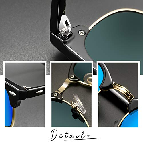 Epic X Carter Semi Rimless Polarized Sunglasses Women Men Retro Brand Sun Glasses (Blue Mirrored Lens)
