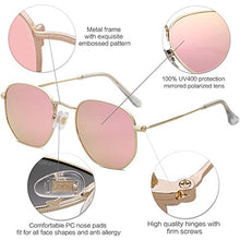 Load image into Gallery viewer, EPIC X Emma Small Square Polarized Sunglasses for Men and Women Polygon Mirrored Lens SJ1072 with Gold Frame/Pink Mirrored Lens