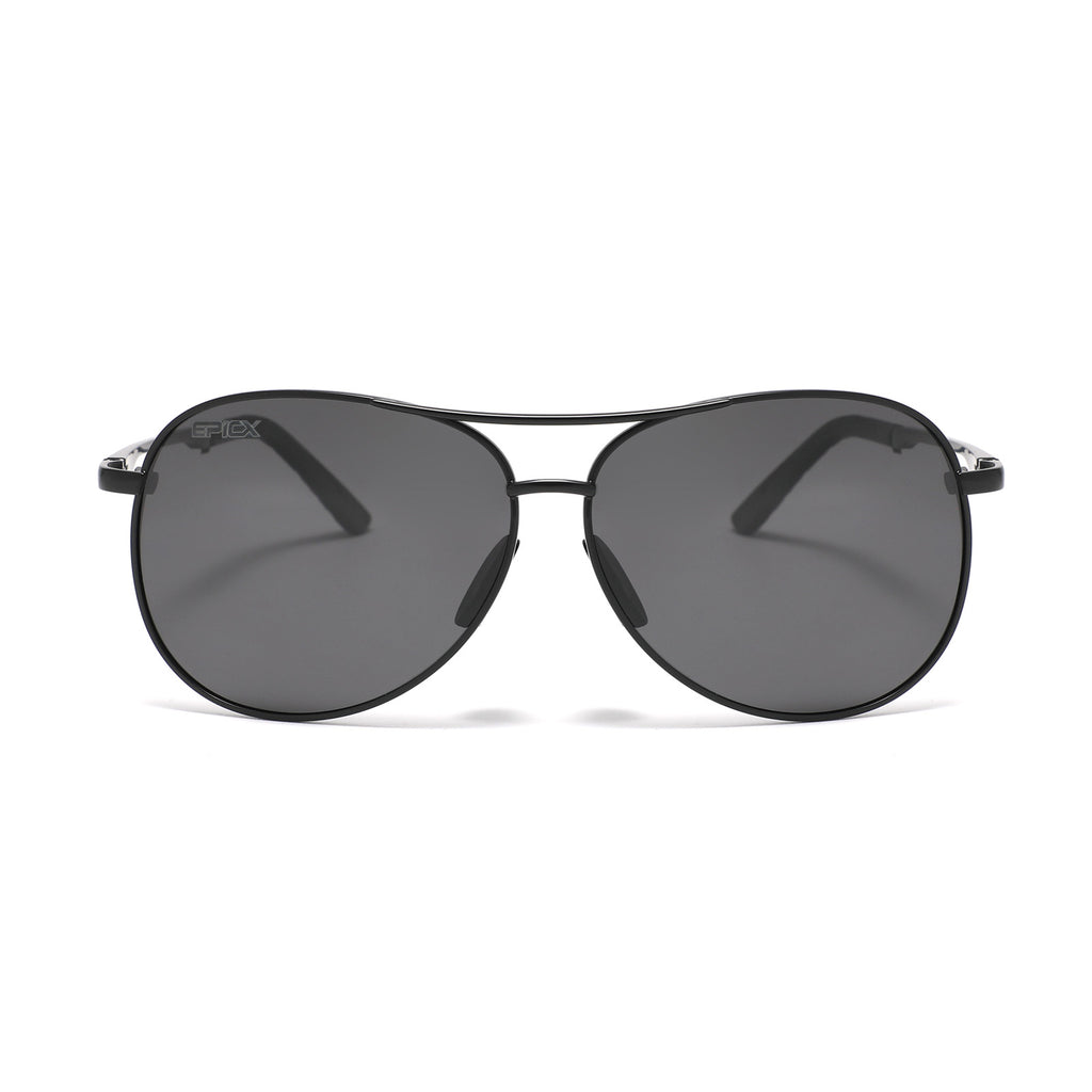 EPIC X AVIATOR Premium Military Style Classic Aviator Sunglasses, Polarized, 100% UV Protection (Large Frame - Black Frame/Black Lens)