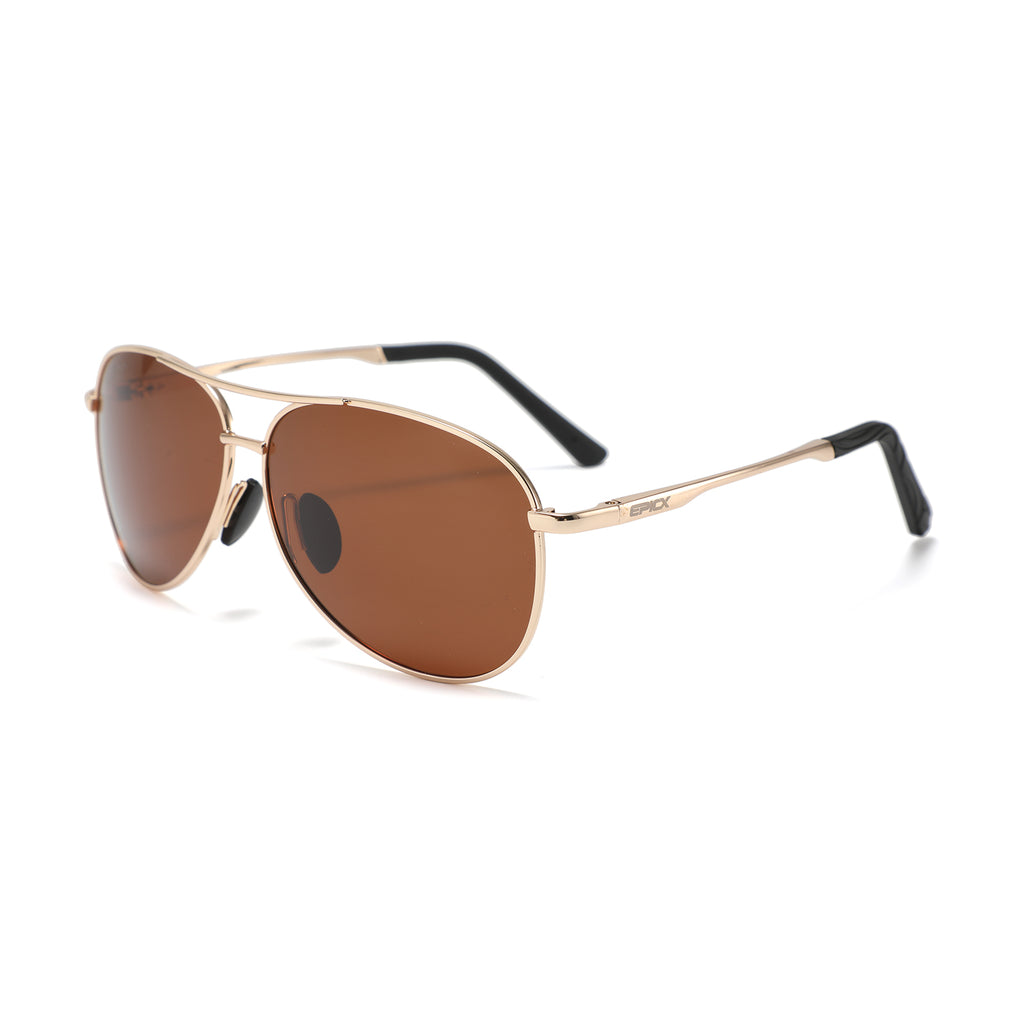Epic X Aviator Premium Military Style Classic Aviator Sunglasses, Polarized, 100% UV protection (Large Frame - Gold frame/Brown Lens)