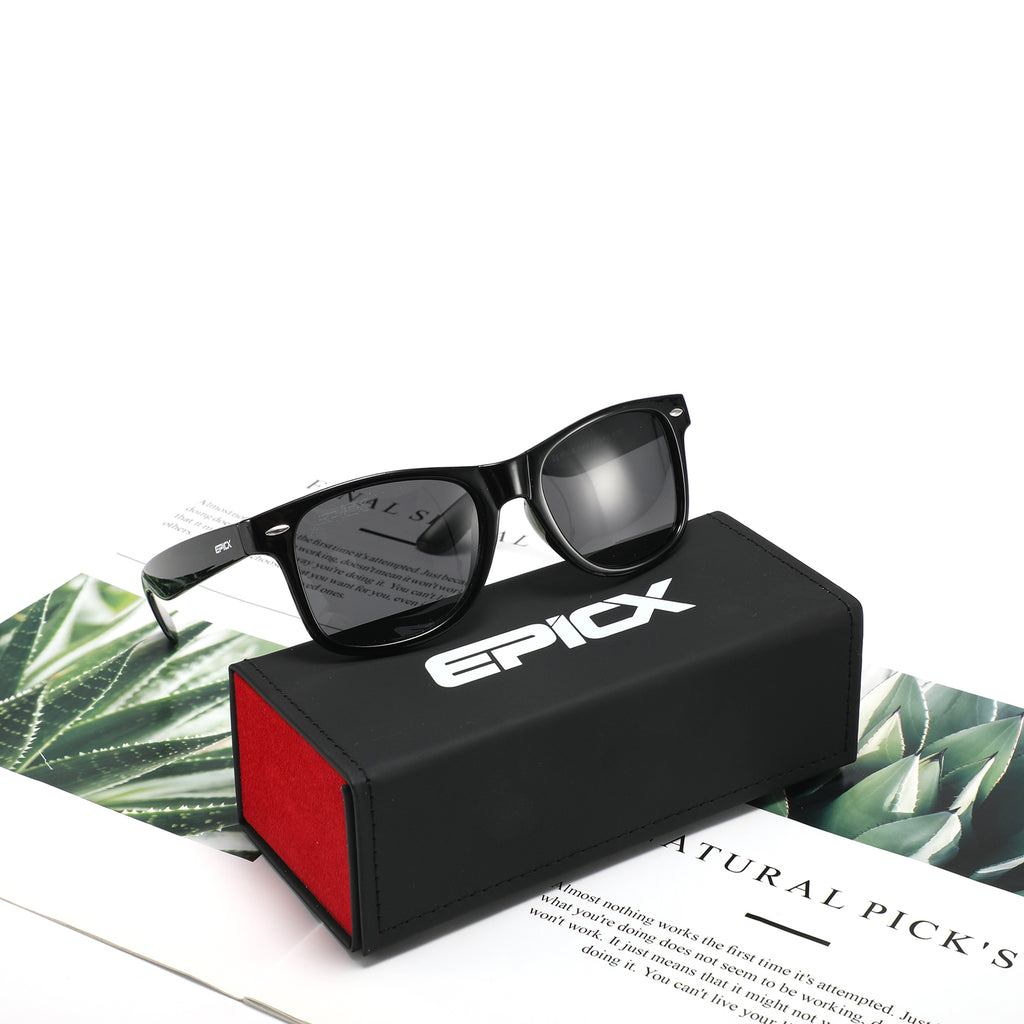 EPIC X RETRO WAYFARER Unisex Polarized Sunglasses Men Women Elegant Square Sun Glasses (Black Pro Simple Packaging)