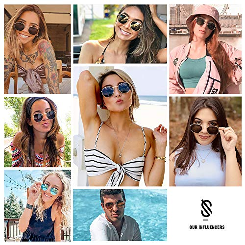 Epic X Emma Small Square Polarized Sunglasses for Men and Women Polygon Mirrored Lens SJ1072 with Silver Frame/Silver Mirrored Lens