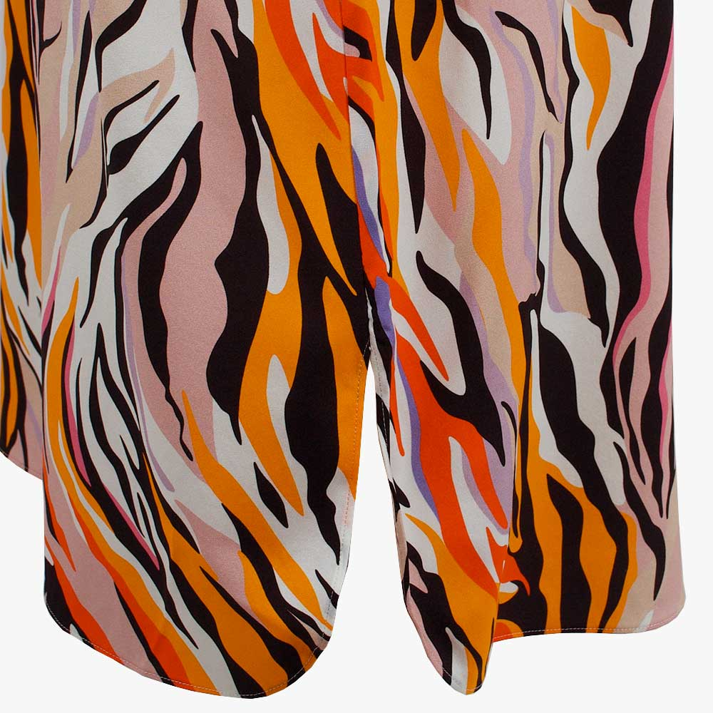 1/2 Kleid Animalprint, Detail Schlitz | multicolor