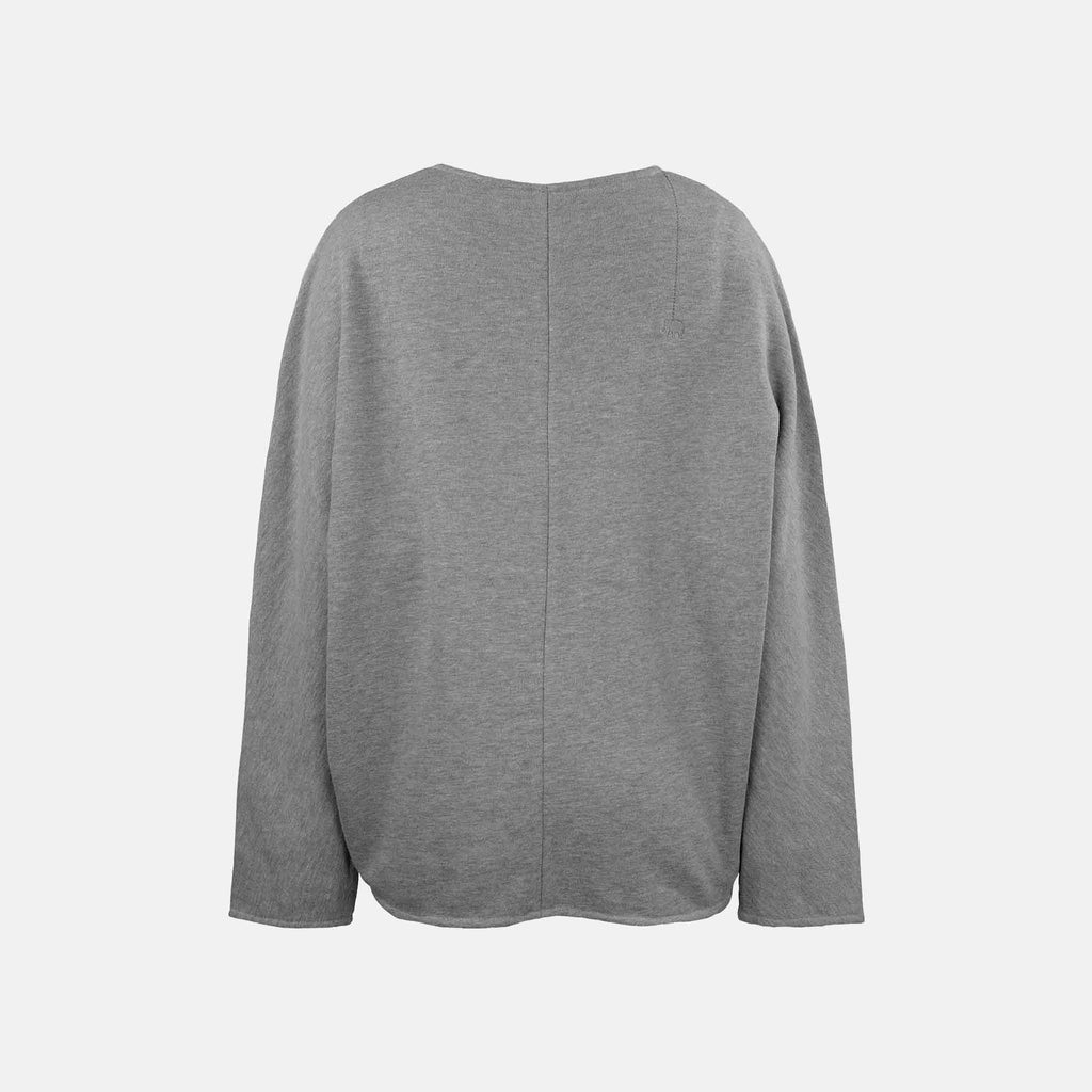 V-Neck Sweater, Hinten | graumelange