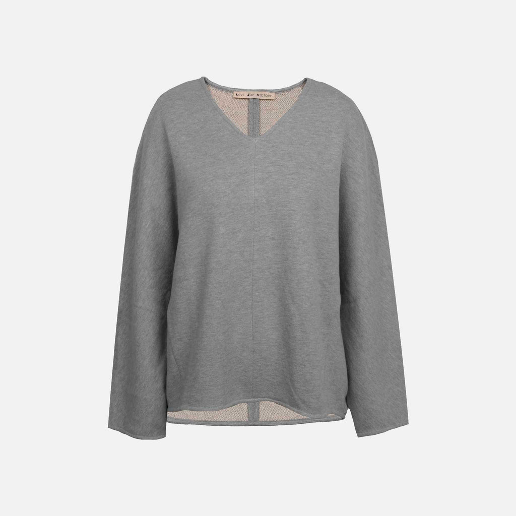 V-Neck Sweater, Vorne | graumelange