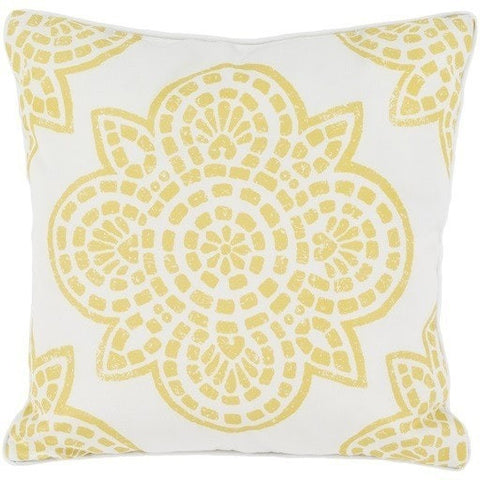 Arabesque Yellow Outdoor Throw Pillow