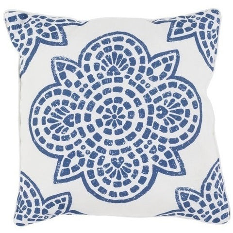 Arabesque Indigo Blue Outdoor Patio Pillows