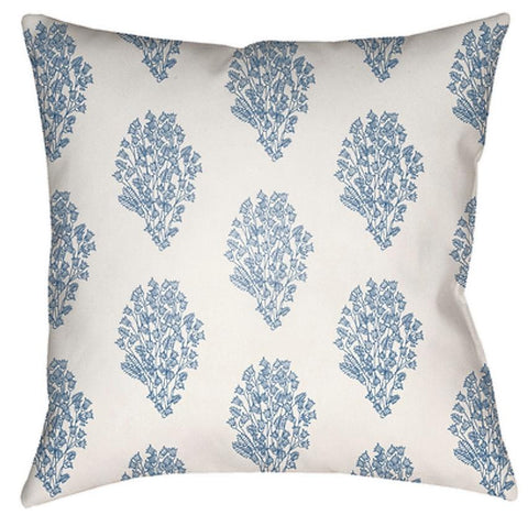 Block Print Floral Light Blue Outdoor Throw Pillow