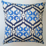 Curran Blue Tapestry Throw Pillow