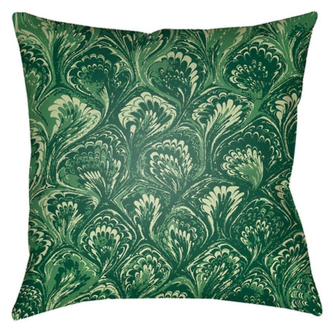 Flourish Green Outdoor Throw Pillow