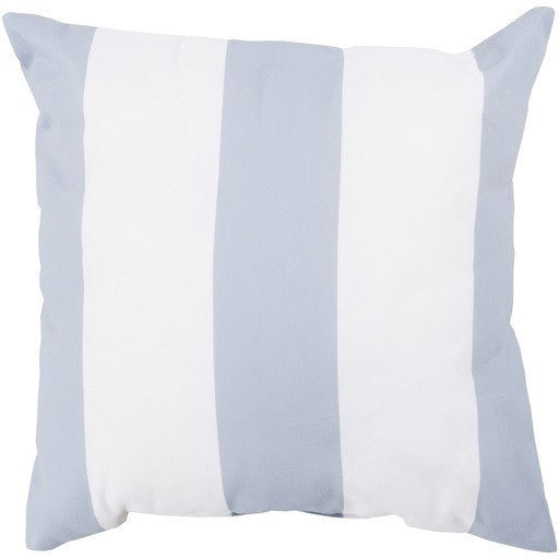 Beach Gray Striped Outdoor Throw Pillow Sky Iris