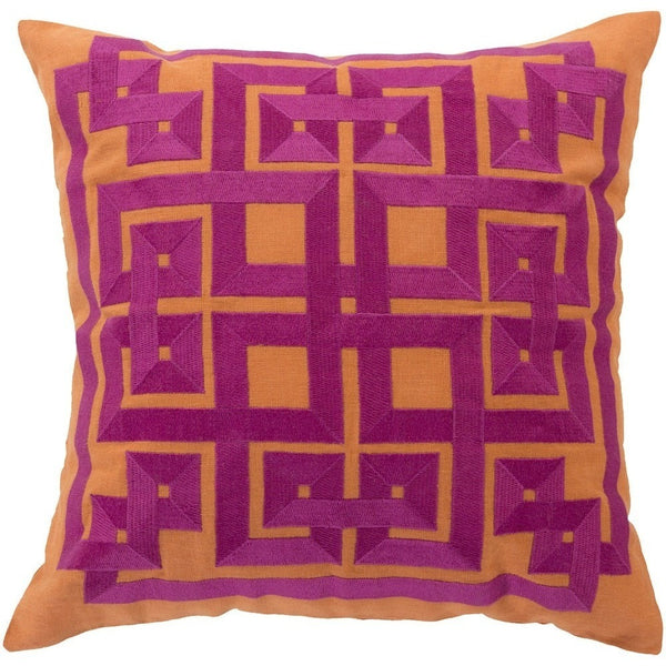 Labyrinth Pumpkin Orange And Magenta Pink Geometric Throw Pillow Classy Orange Decorative Pillows For Couch