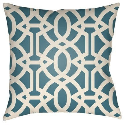 Trellis Pattern Teal Outdoor Pillow