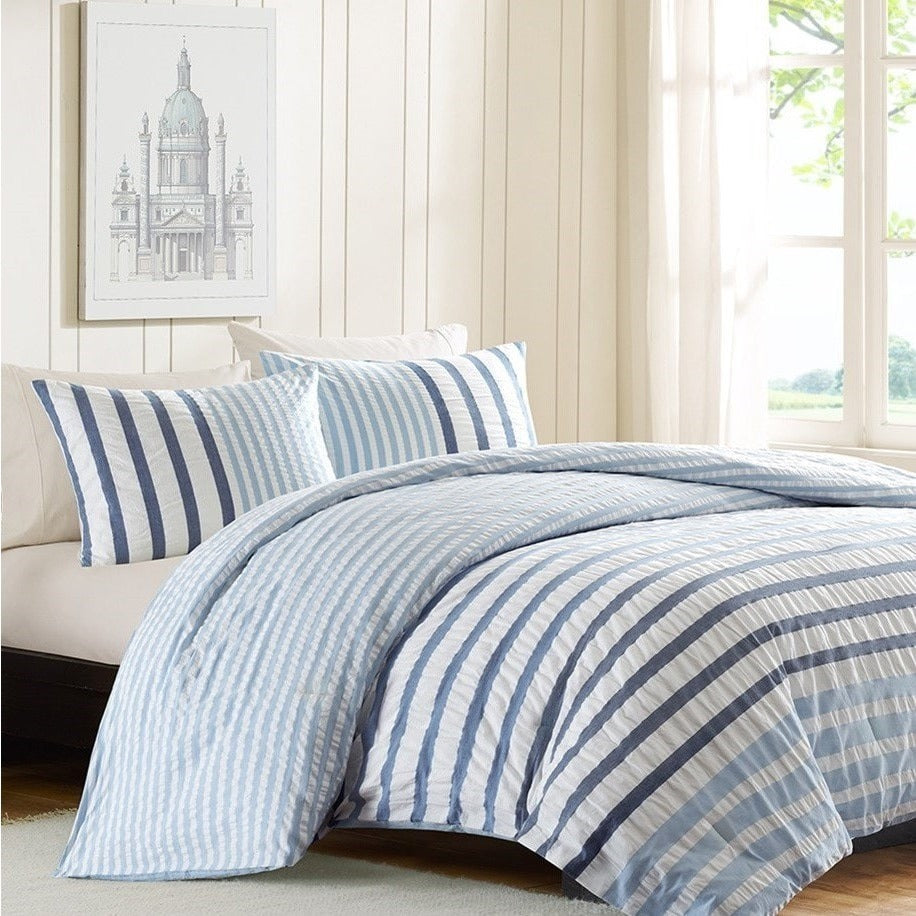 Seersucker Blue And White Stripe Cotton Comforter Set