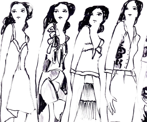 fashion sketch of girls in a line