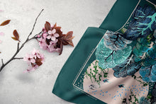 Load image into Gallery viewer, Large Square Scarf : Cherry Blossoms Green