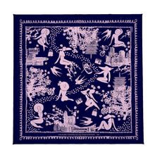 Load image into Gallery viewer, Large Square Scarf : Hanami Blue