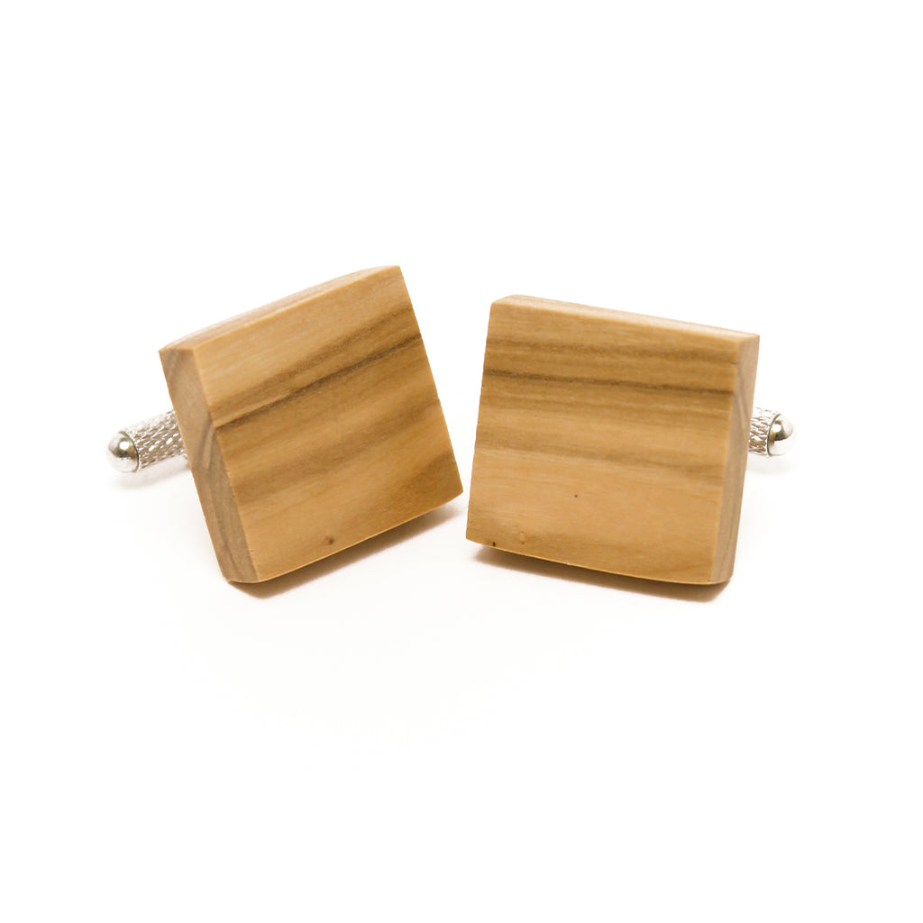 Olive Wood Cuff Links - Square
