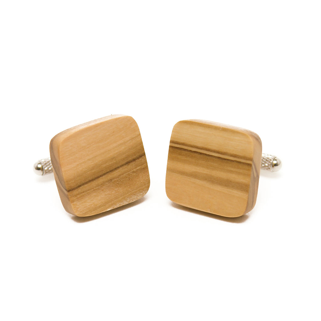 Olive Wood Cuff Links - Rounded Square