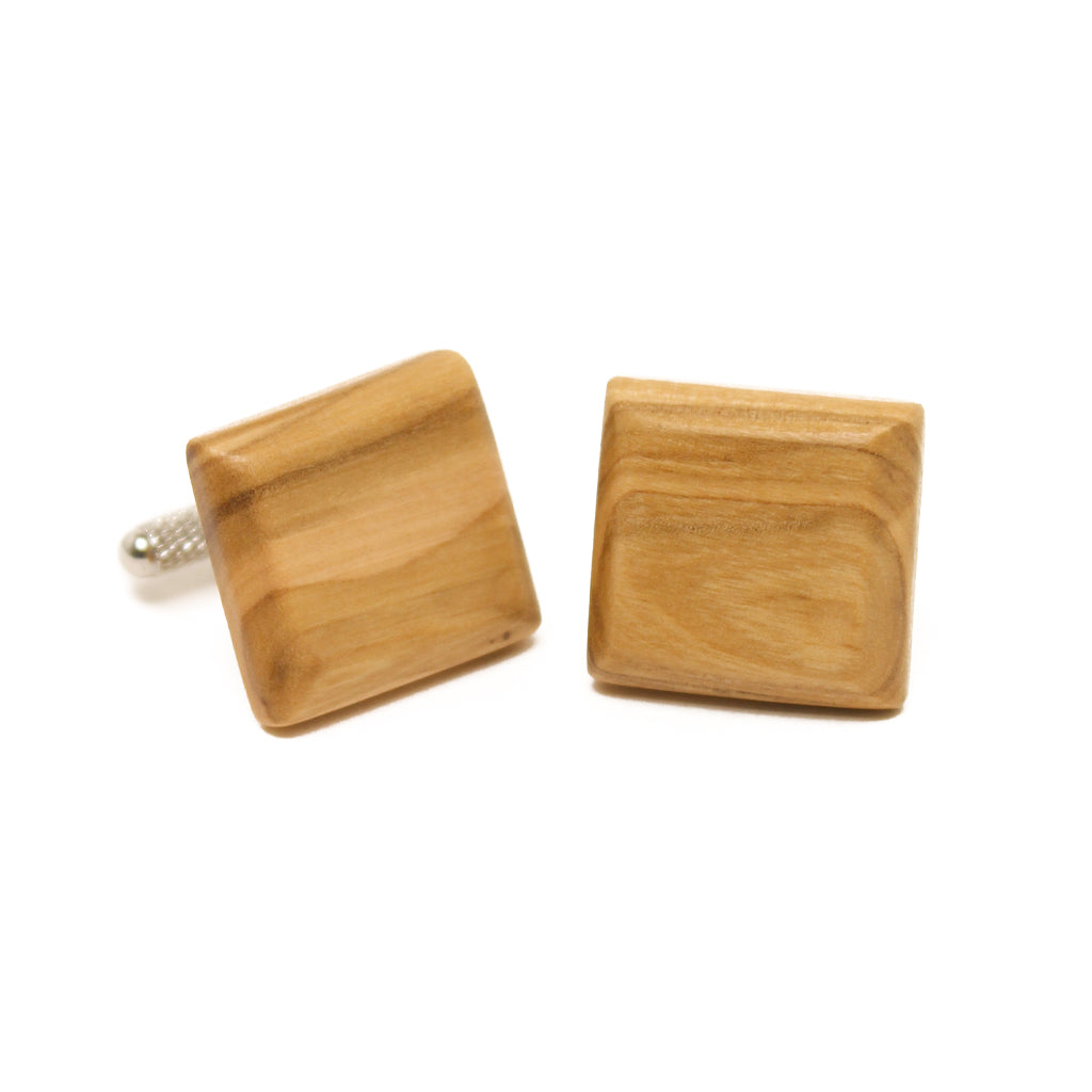 Olive Wood Cuff Links - Beveled Square