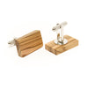 Olive Wood Cuff Links - Rectangle