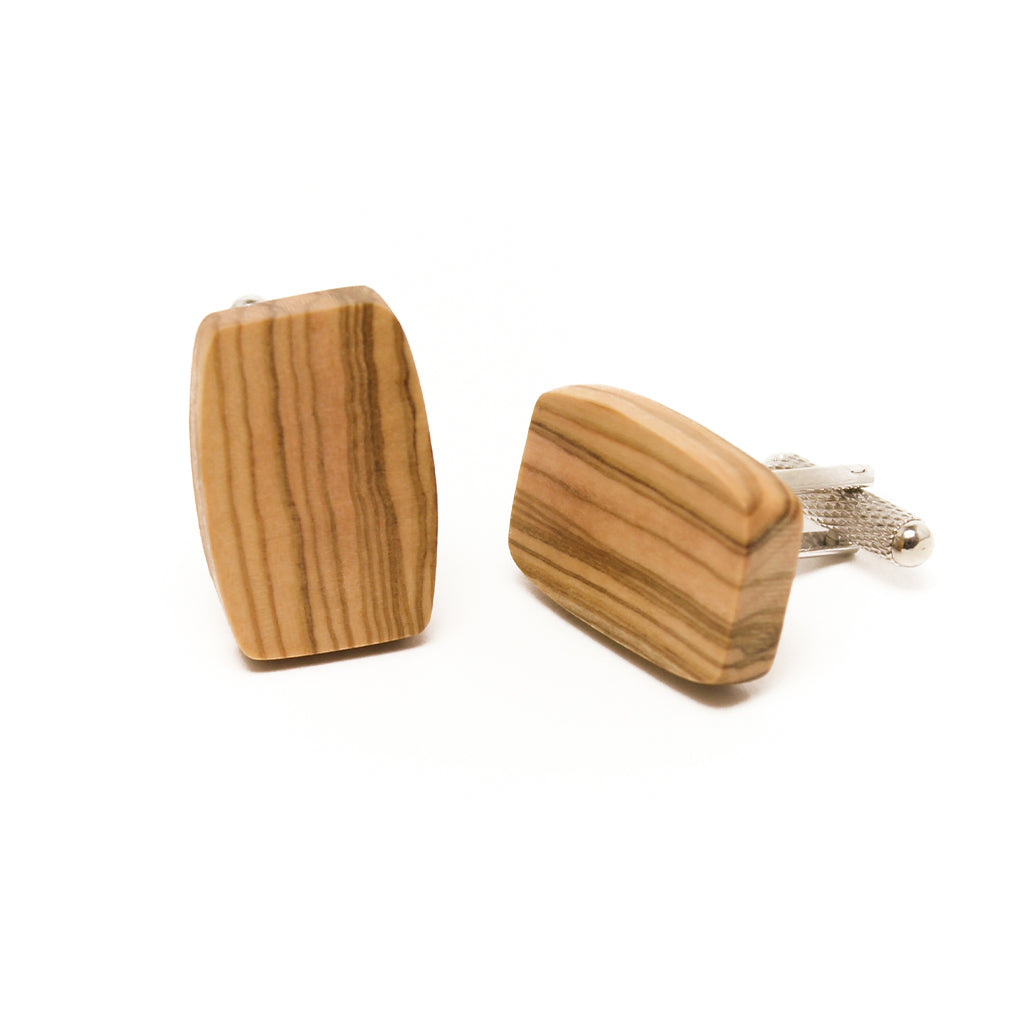 Olive Wood Cuff Links - Oval