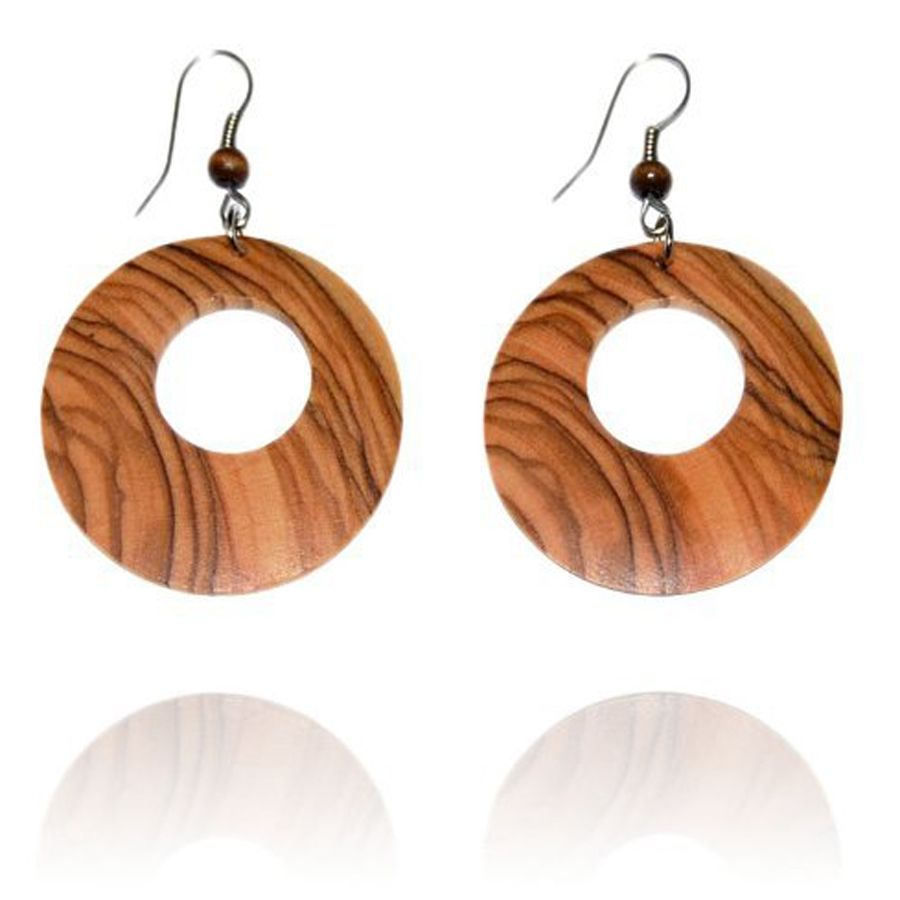 Olive Wood Hoop Earrings
