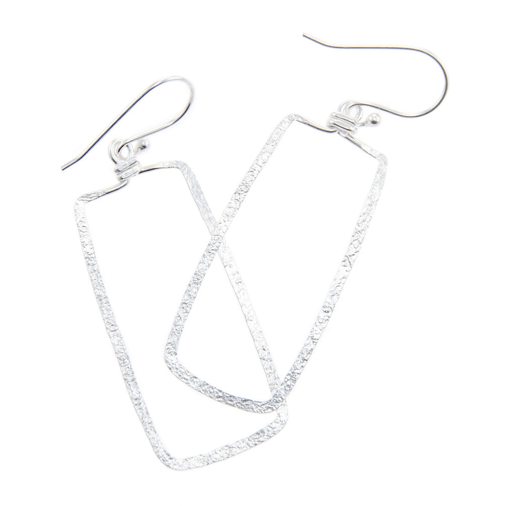 Hammered Rectangle Earrings - Sterling