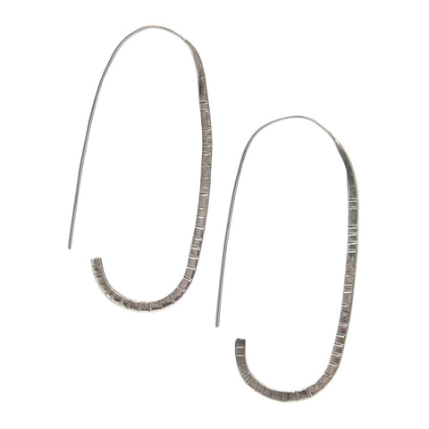 Hammered Oval Earrings - Sterling