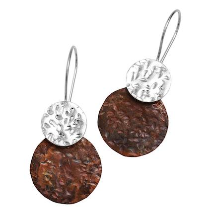 Lunar Eclipse Earrings Copper and Silver