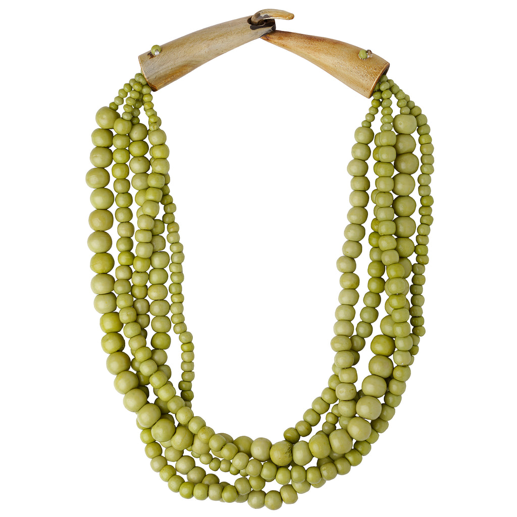 Shakti Beaded Necklace in Lime