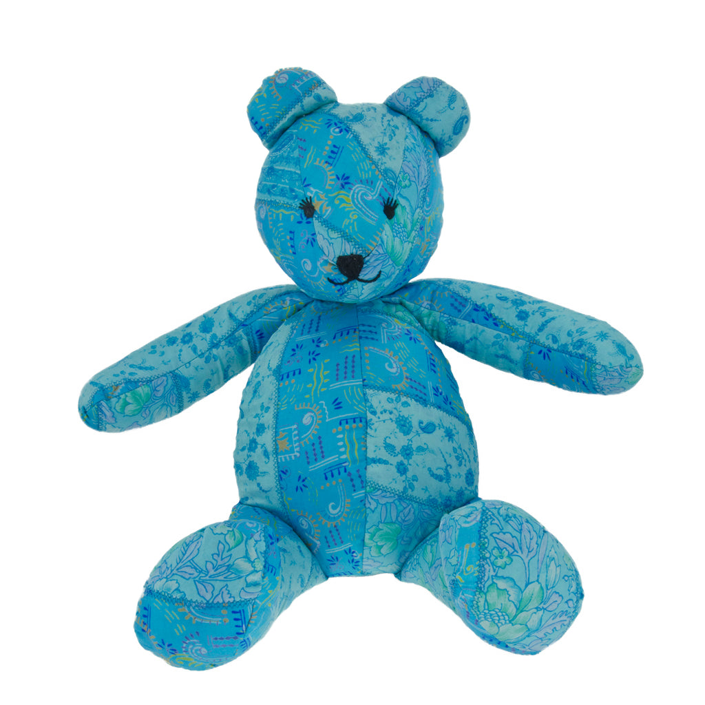 Teal Silk Teddy Bear - Overstuffed
