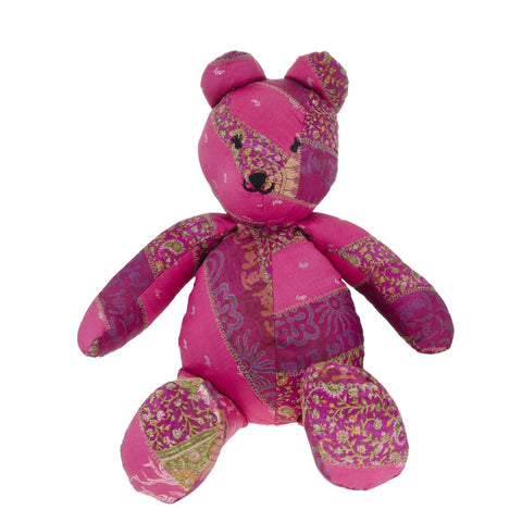 Pink Silk Teddy Bear - Overstuffed
