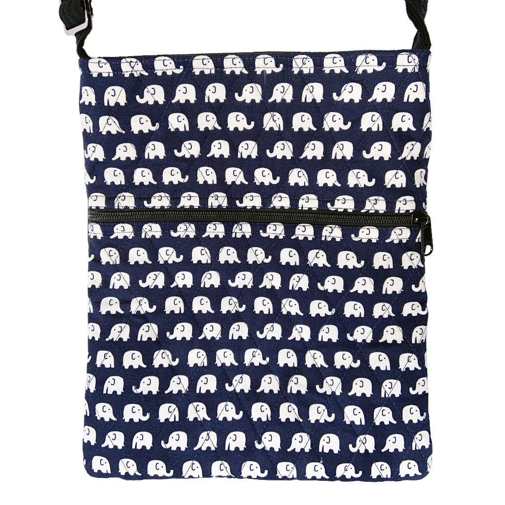 Navy Elephant Print Notebook Bag