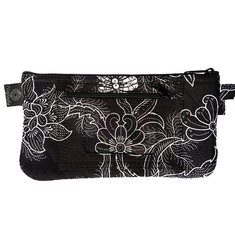 Sea Garden Black Clutch Wristlet Wallet
