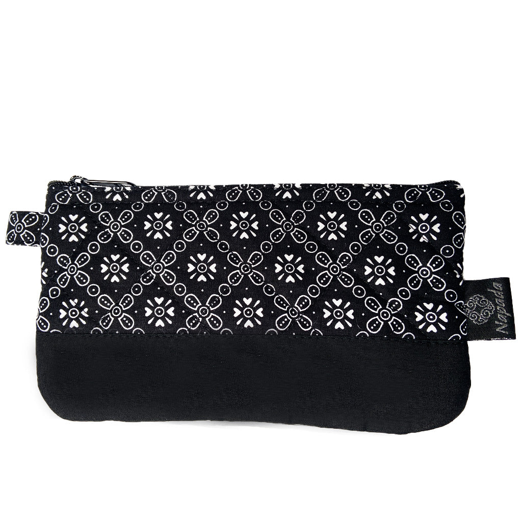 Black Snowflake Quilted Pencil Pouch