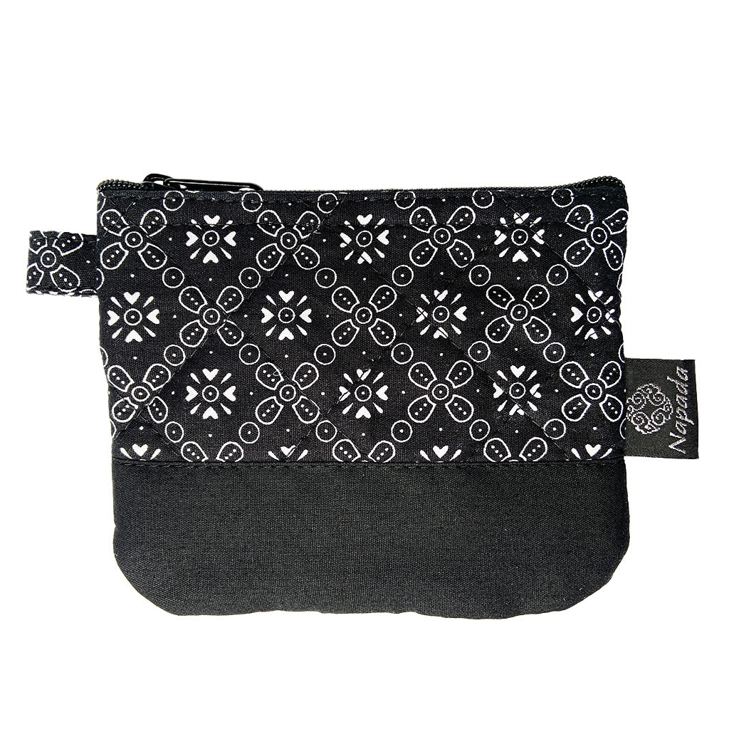 Black Snowflake Quilted Coin Purse