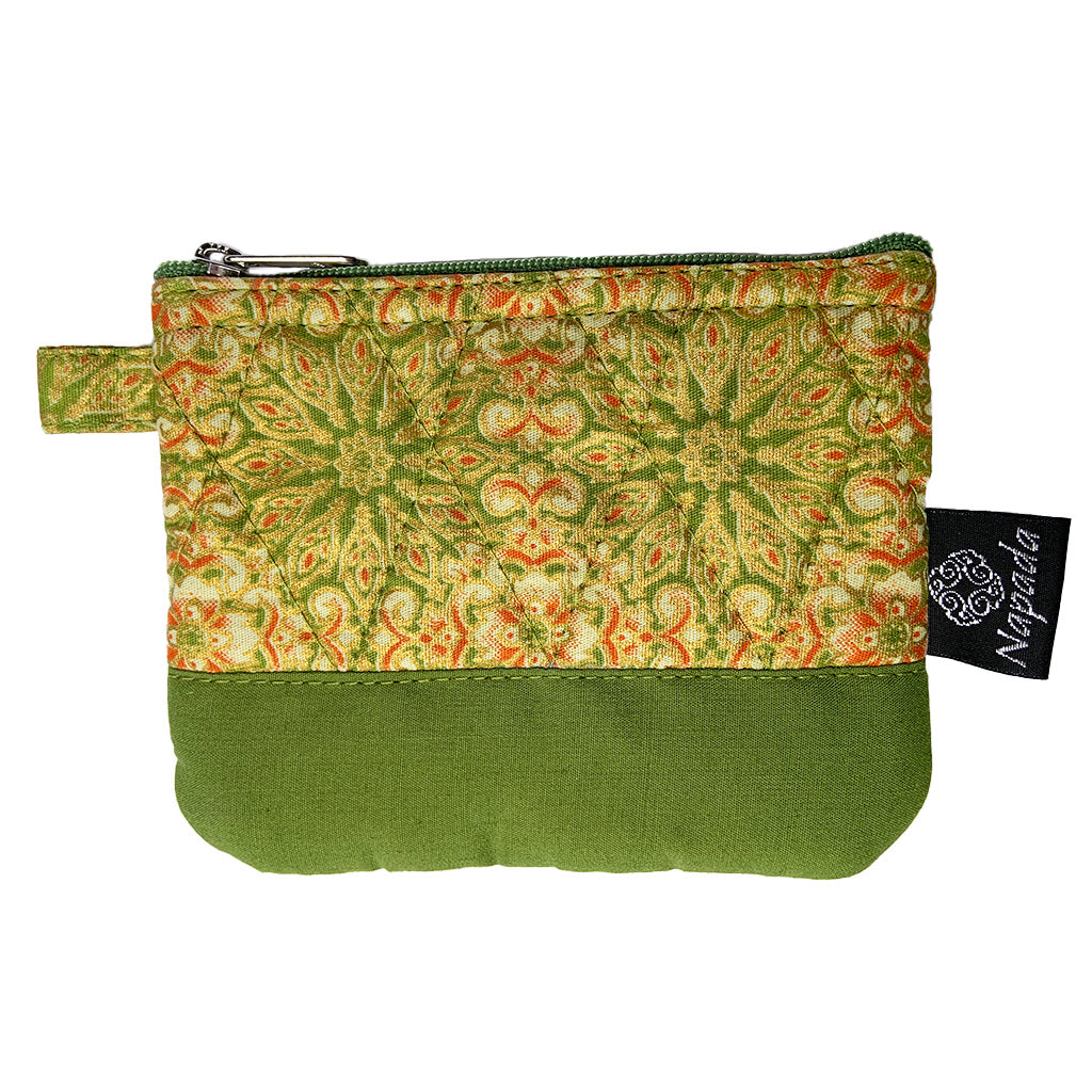 Olive Sunburst Quilted Coin Purse