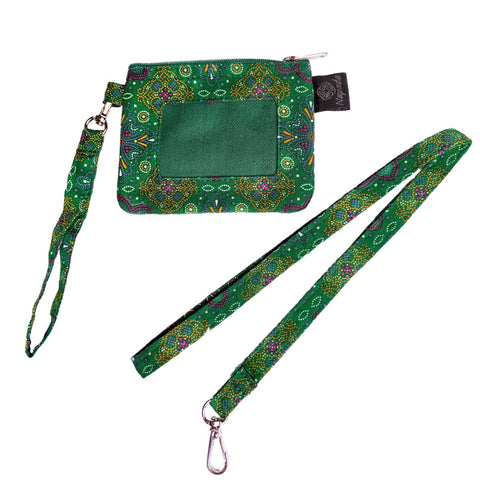 Pettipoint Green ID Wallet w/ Lanyard
