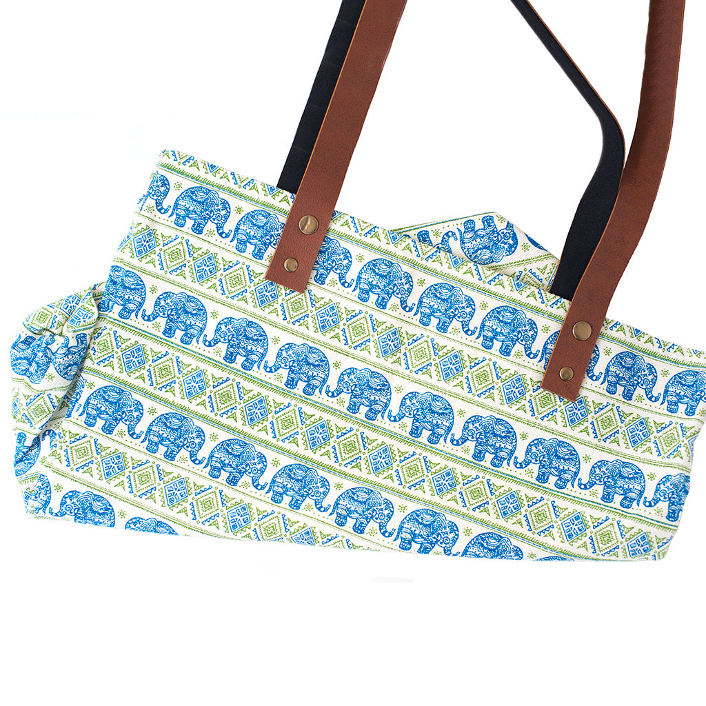 Blue and Green Cotton Tote