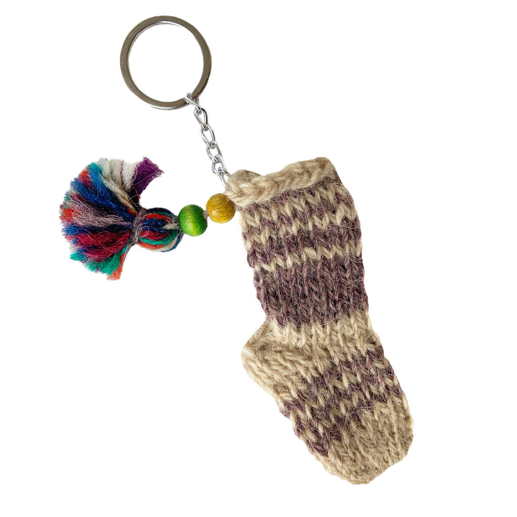 Azeri Mini Sock Keychain - Grey