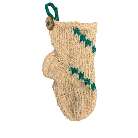 Azeri Mini Stocking Ornament - Green Trim