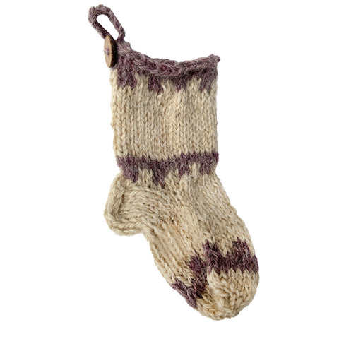 Azeri Mini Stocking Ornament - Grey Trim
