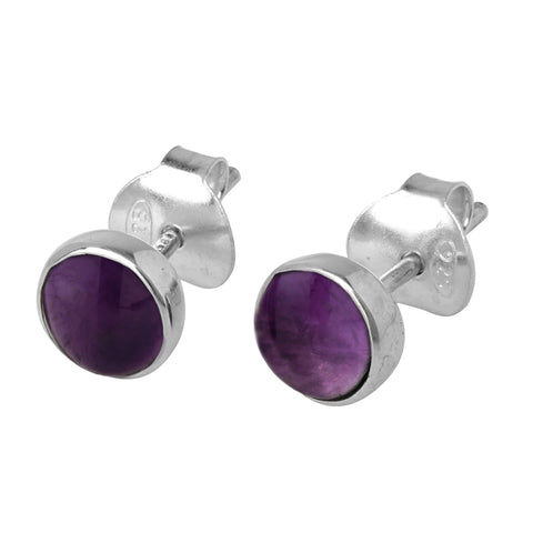 Amethyst Round Earrings