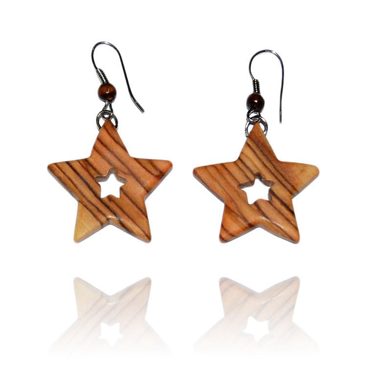 Olive Wood Star Earrings