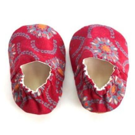 Red Flower Booties - Size 3