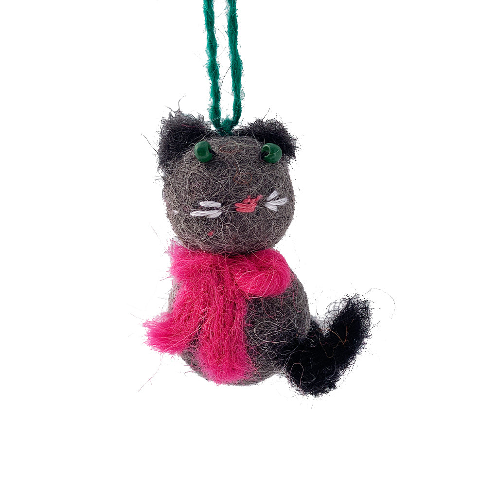 Cat Felted Ornament