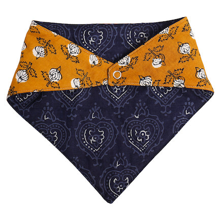 Baby Bandana Bib - Navy & Yellow