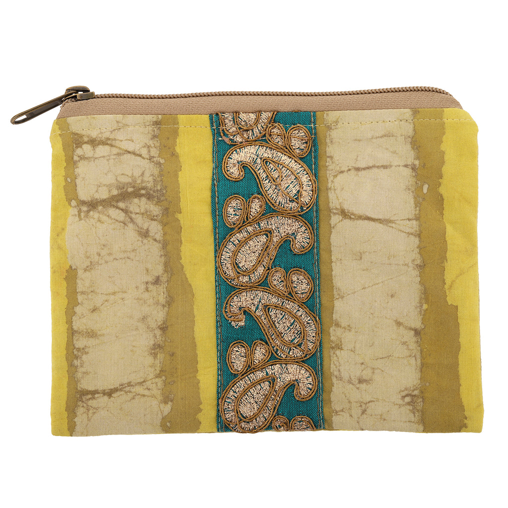 Yellow Stripe Block Print Pouch