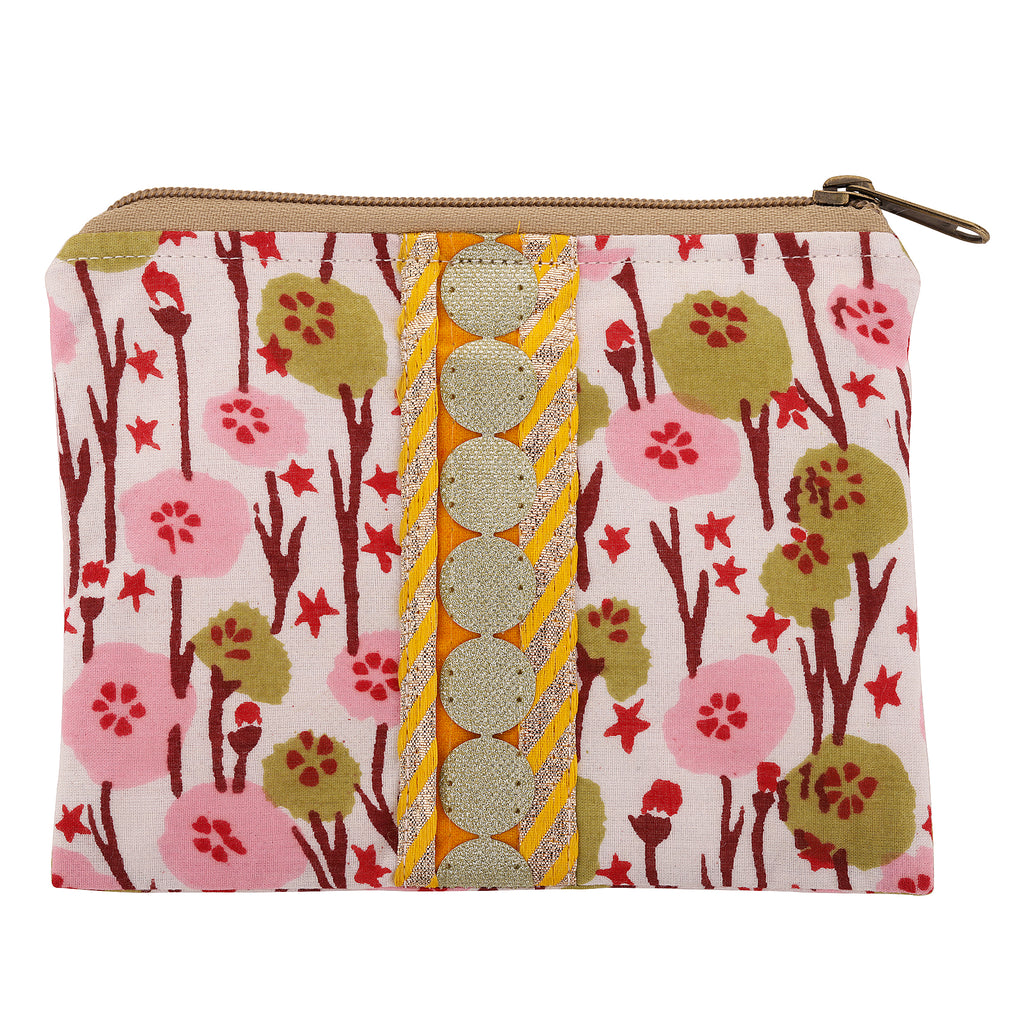Pink Flowers Block Print Pouch